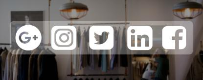 Imagem com loja e imagem de redes sociais
